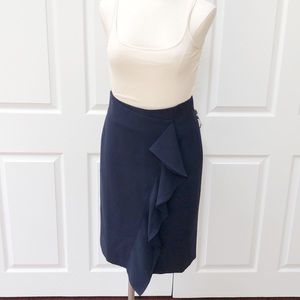 J. Crew navy ruffle pencil skirt career 2